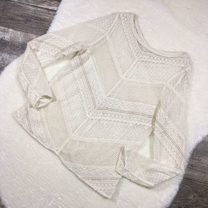 SUNDANCE Ivory Lace Sheer Long Sleeve Mesh Top
